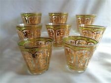 Mid Century 8- Old Fashion Barware Glasses Gold/Green Scroll Culver