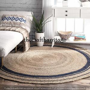 Natural Round Rug Handmade Meditation Rug Traditional Carpet 8 Feet Rug Jute Rug