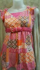 Route 66 Girls Blouse Size 14/16 PInk/Orange/Creme Beautiful w/ Pink Belt