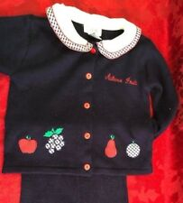 VTG Lydia Jane Size 6 Navy 2 piece Set Peter Pan Collar with fruits Embroidered