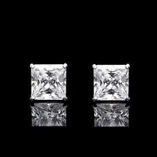 2.5CT Princess Cut Created Diamond Square Stud Screwback Earrings 14K White Gold