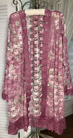 NEW Plus Size 1X Pink Rose Open Kimono Lace Duster Jacket Floral Crochet Topper
