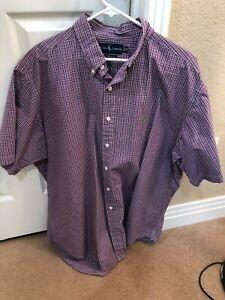 POLO RALPH LAUREN Short Sleeve Purple/Violet Checks Button Shirt Size XL-Reg