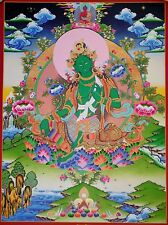 GREEN TARA Tibetan Thangka Poster for Dharma (Traditional Style)