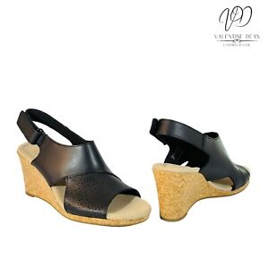 Clarks Lafley Joy Women's Sandals Black Leather Wedges Size 4 UK D