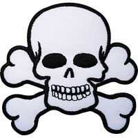 Skull and Crossbones Embroidered Iron Sew On Patch Pirate Flag Fancy Dress Badge