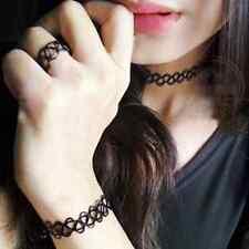 SET Tattoo Choker Ring Armband Collier schwarz Halsband dehnbar elastisch Kette
