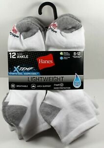 12-Pack: Hanes Men's X-Temp Active Cool Lightweight Ankle Socks, Shoe Sizes 6-12