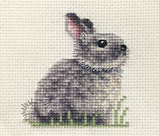 Grey Bunny Rabbit Baby Counted Cross Stitch Kit All Materials Needed