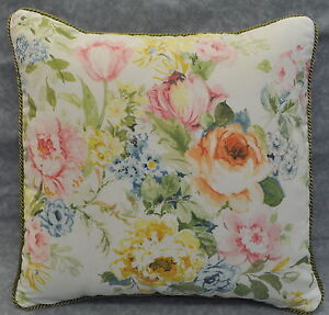 """New Corded Pillow made w Ralph Lauren Home Lake Pastel Floral White Fabric 16"""""""