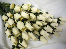 100 IVORY CREAM OFF WHITE WOODEN ROSES MODERN HOME ARTIFICIAL WEDDING FLOWERS