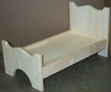 "Wood Doll Bed Unfinished Pine Wood Good For 18"" Dolls & american girl doll"