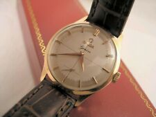 Men's Gorgeous 18 K Solid Rose Gold Case Omega 17 Jewel Watch Swiss Made w Box