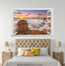3D Sunset Sky Hills 048 Open Windows WallPaper Murals Wall Print AJ Carly