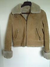 Wilsons Leather Maxima Brown Suede Jacket Coat Women large Quilted Lining warm