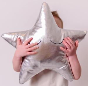Bizzi Growin Cushion Silver Star Cushion Childrens Deluxe Decorative Cushion
