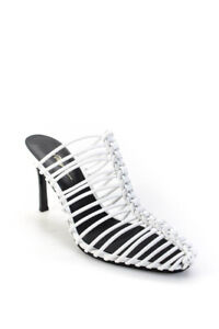 3.1 Phillip Lim Womens Sabrina 85mm Leather Cord Cage Mules Ivory Size 38.5 8.5
