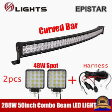 50INCH Curved LED Light bar 288W Combo + 48W Spot Offroad 12V 24V Wire Harness
