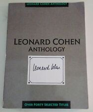 LEONARD COHEN ANTHOLOGY  Book with Autograph on Cover Poet Musician Author
