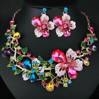 Rhinestone Crystal Chunky Statement Bib Pendant Chain Flower Choker Necklace X