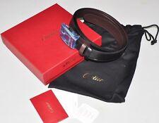 NEW Cartier Mans Leather Palladium Buckle Belt L5000387 Black/Brown Reversible