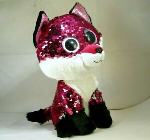 "TY Jewel Reversible Sequin Plush Pet Flippy Fox 9"" tall Flippables Purple"