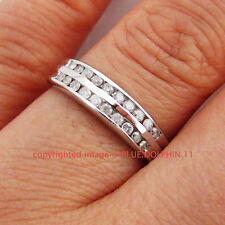 Genuine Natural Diamond Solid 9k White Gold Engagement Wedding Channel Ring Band