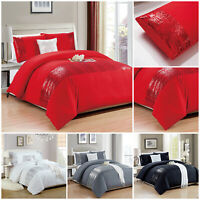 Luxury Embroidered Duvet Quilt Cover Set Double King Size White Grey Bedding Set
