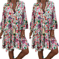 Damen Boho Blumen Longbluse Sommerkleid Strandkleid Minikleid Tunika Übergröße