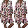 Damen Boho Blumen Tunika Shirtkleid Sommer Strand V-Ausschnitt Freizeit Kleid 42