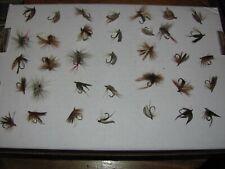 Lot of 35 Vintage Fly Fishing Flies in metal box