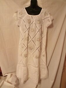 """Vintage 70s MEXICAN Acapulco Midi Dress 1X-50"""" Bust Boho Dress Embroidered"""