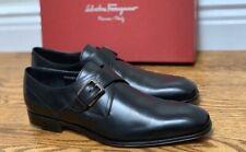 SALVATORE FERRAGAMO 'Modugno' Men's Black Leather Monk Strap Loafers 11D US NIB