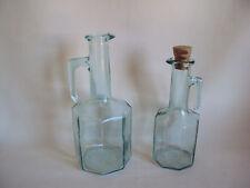 VINTAGE GREEN AQUA GLASS CRUET / DECANTER SET OF TWO ITALY MADE