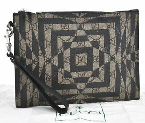 Authentic GUCCI GG Caleido Clutch Hand Bag PVC Leather 411768 Black E0493