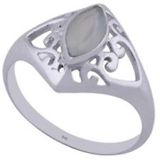 925 Sterling Silver 2.4 grams w/ Chalcedony Aqua Marquis Cut Statement Ring Sz 8