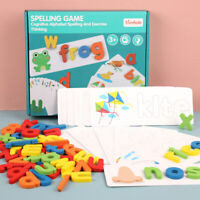 HOT!!! Wooden Cardboard English Spelling Alphabet Game Kids Early Education Toy~