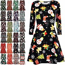 Womens Christmas Mini Smock Swing Dress Ladies Santa Gift Candy Penguin Reindeer