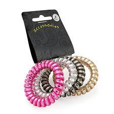Paquete De 4 Cable de teléfono 5cm mezcla metálica en bandas para el cabello Primavera Elásticos Bobinas Bobble