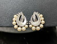Lovely Vintage Silver Tone Faux Pearl Clip on Earrings Signed Trifari 1960s