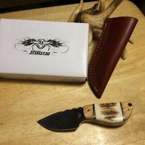 """Steel Stag 5"""" Stag Bone and  Olive Wood Hunting Knife w/ Leather Sheath SS7028"""