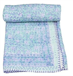 100% Cotton Indian Handmade Floral Kantha Quilt Throw Toddler Coverlet Bed Cover