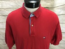 Vintage Tommy Hilfiger Polo Shirt Red Box Logo Flag Men's XL