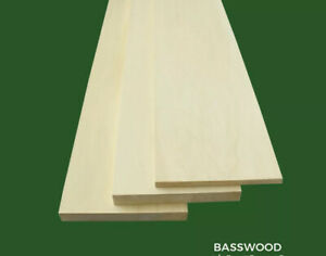 """Basswood Large Sheets, Thin Stock Lumber Boards 1/4"""" x 2"""" x 12"""""""