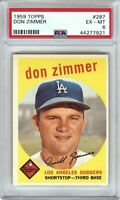 Don Zimmer 1958 Topps Vintage Baseball Card Graded PSA 6 EX-MT Dodgers #287