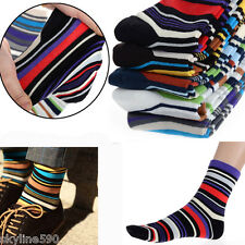 5 Pairs Multi Color Men Designer Fashion Dress Socks Casual Striped Style