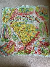 Vintage Rayon Silk South Carolina Souvenir Map Hankie Scarf Beaches