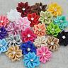 40pcs U pick satin ribbon flowers bows with Appliques Craft DIY Wedding A014