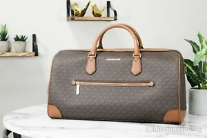 Michael Kors Travel XL Brown Signature PVC Leather Duffle Carry On Hand Bag