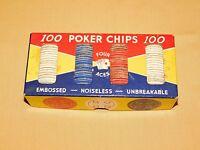 VINTAGE CASINO BLACK JACK GAME FOUR ACES 99 POKER CHIPS SET IN BOX